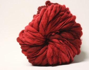 Thick and Thin Merino Handspun Wool Yarn Slub  tts(tm) Hand dyed Half-Pounder Super Bulky Scarlet 0x
