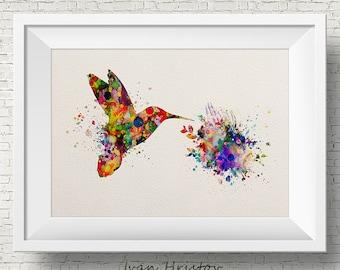 Hummingbird art print - watercolor painting print - bird art illustration, home wall decor,abstract,wall art,kids art,fantasy,modern
