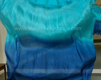 Fan Veil SET (2 FANS)-Tulip Series-Turquoise / Royal blue