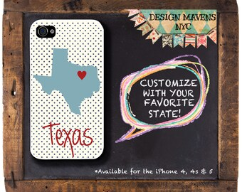 Texas State Pride iPhone Case, Personalized Texas Phone Case, iPhone 8, 8 Plus, iPhone 7, 7 Plus, iPhone 6, 6s, 6 Plus, SE, iPhone 5, 5s, 5c