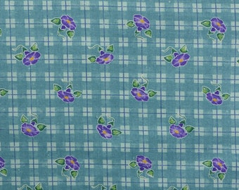 Vintage Daisy Kingdom Fabric, Vintage Floral Fabric, Morning Glory Plaid Fabric, Cotton Floral Fabric - 1 Yard - CFL2321