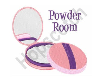 Powder Room - Machine Embroidery Design, Makeup Compact