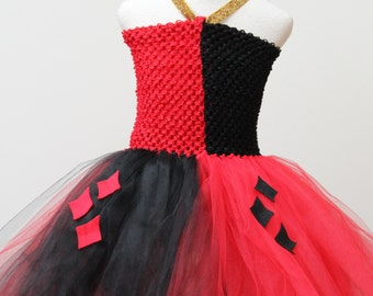 Harley Quinn Dress-designer halloween costume - , Harley Quinn Costume,  Red Black Dress
