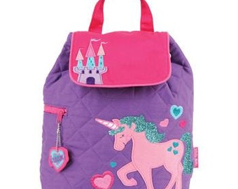 Personalized Stephen Joseph Unicorn Quilted Backpack