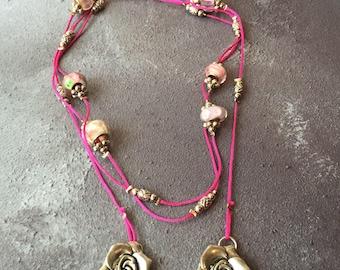 Pink Beaded Tie Necklace
