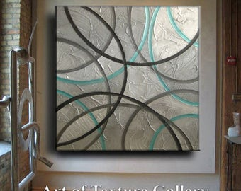 Huge Original Abstract Texture Modern WhiteAqua Charcoal Gray Brown Impasto Circle Carved Sculpture Oil Knife Painting by Je Hlobik