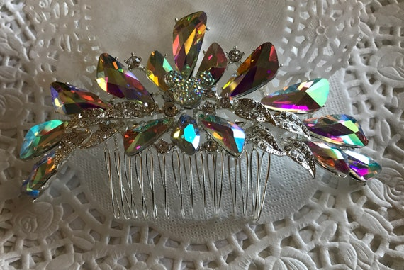 Hidden Mickey Wedding Comb-Crystal Rhinestones-Silver Tone Setting-Disney Inspired Accessory