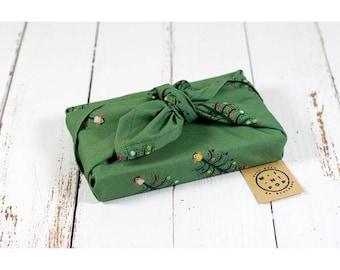 Furoshiki GOTS organic cotton green Christmas trees, wrapping zero waste, durable, eco-friendly, reusable, 50 x 50 cm.