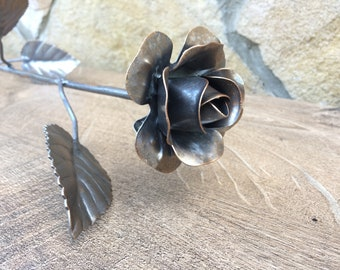 Iron rose, steel rose, metal rose, hand forged rose, wrought iron rose,hand made rose,metal sculpture,wedding anniversary,metal gift for her