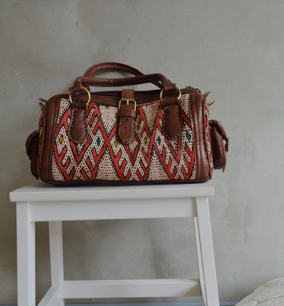 Shoulder Leather Bag- Winter Finds Moroccan Red Kilim Leather Satchel Cross Shoulder Straps Berber-bag, tote, handbag, purse, gifts, handbag
