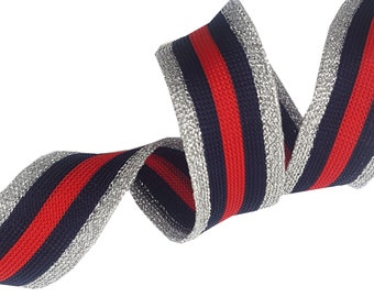 Gestreifte Stretch Ribbon Trim, Rot Blau Silber Trim mit Lurex, Fashion Ribbon Trim