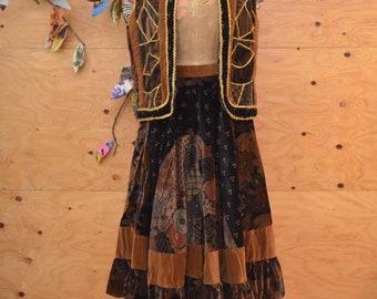 Vintage 70's Gunne Sax Style Velvet Patchwork Suit Prairie Skirt And Vest Floral Print In Black & Brown Size XL