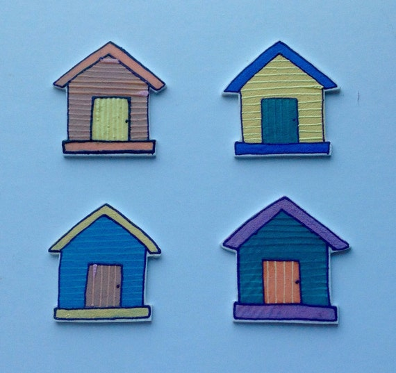 Beach Hut Kitchen/ Fridge Magnets Set of 4 Notice Board Magnets