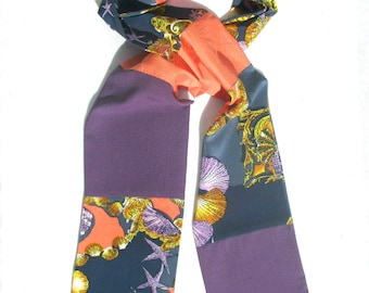 Patchwork Scarf, Purple Silk, Starfish Design, Men's Silk, Silk Patchwork Scarf, Pieced Scarf, OOAK Scarf, Dressy, Colorful, Casual Scarf