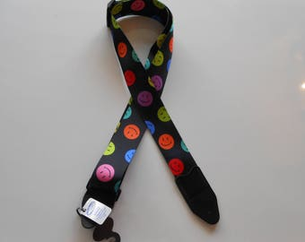 Uk Made Multi Colour Smiley Faces Adjustable Acoustic ,Electric or Bass Guitar Strap - Extra Long - Polywebbing - Leather ends - Pick Pocket