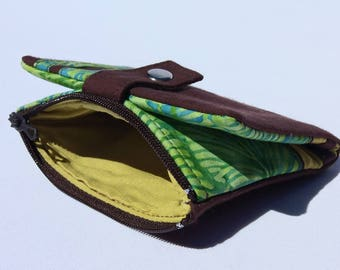 Wallet in Brown fabric and pattern blue / green