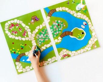 Fairy Garden Printable Play Mat. Pretend Play Quiet Toy for Fairies