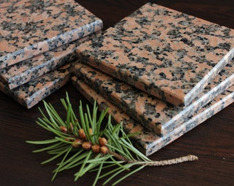 Coasters Set of Six From Natural Stone Granite Balmoral Red
