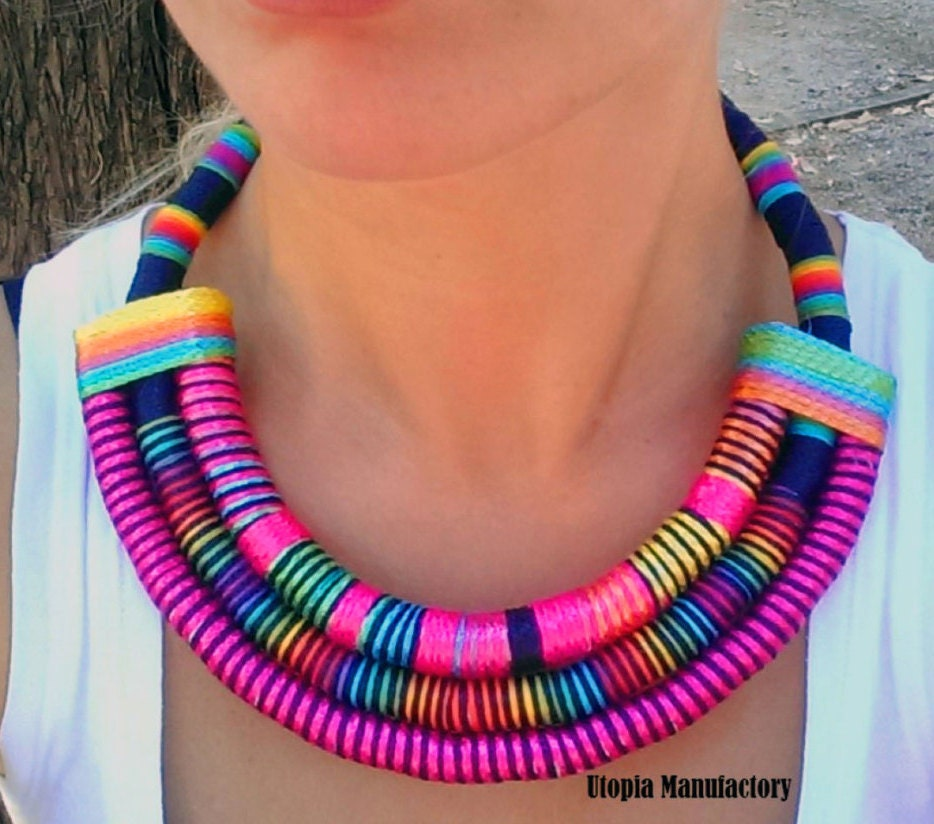 Multi Strand African necklace / fabric Statement necklace