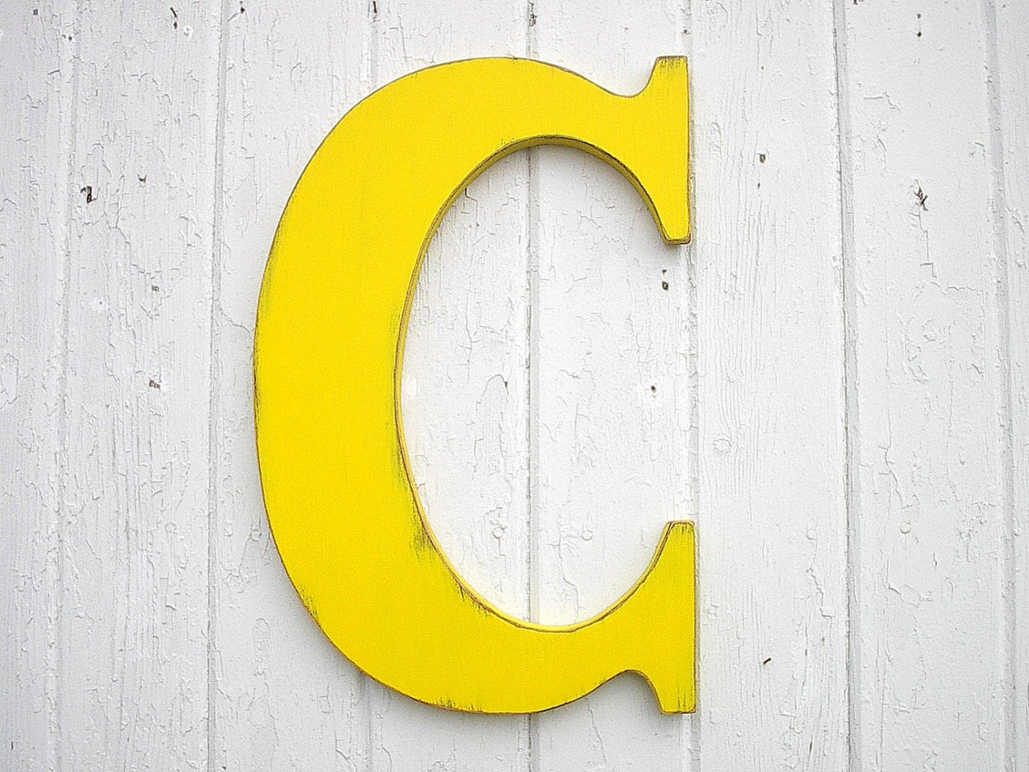 Wooden Letters C Large 18 inch Yellow Nursery Wall