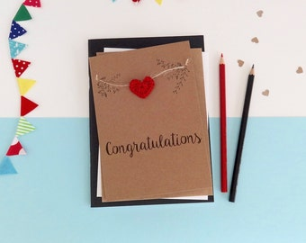 Congratulations card - Well done card - Exam Congratulations - New Job card - Handmade congratulations card - Brown card