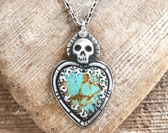 Sterling silver skull necklace with Turquoise heart, gift for her, mens jewelry
