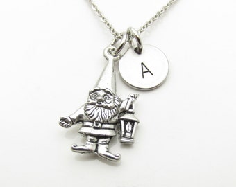Garden Gnome Necklace with Initial, Gnome Charm Necklace, Personalized Stamped Stainless Steel Initial, Antique Pewter Monogram, (Y041)