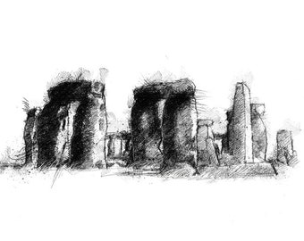 Stonehenge sketch | Limited edition fine art print from original drawing. Free shipping.