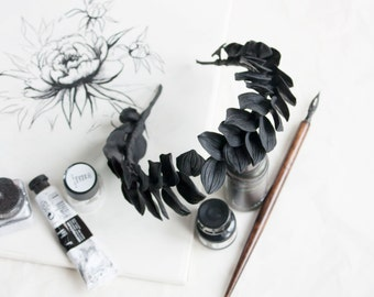 Black leaves, Headband, Black Crown, Crown, Black Leaf Crown, Black Headpiece,Goddess,  Head Piece, Dark