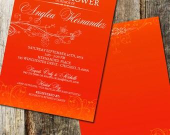 Poppy Red Floral Wedding Bridal Shower Invitations - Digital or Printed - Poppy Red