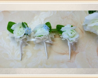 White silk rosebud buttonhole, rose boutonniere, groom buttonhole, groomsmen buttonhole,  father of the bride, usher buttonhole