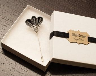 Sparkly Glitz Silver Black Freesia on Silver Plated Lapel Stick Pin
