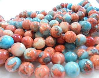 38 beads, semi-precious stones, Fossil, Ø 1cm