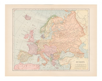 Antique color map of Europe from 1916 yearbook - Free US Shipping