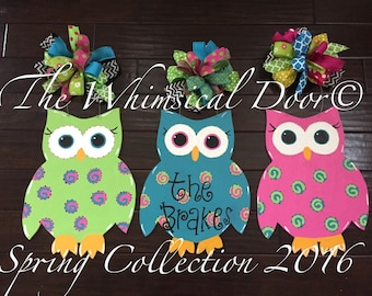 Owl Door Hanger Spring Door Hanger Welcome Door Hanger