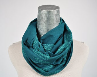 Infinity scarf feather screen print organic cotton bamboo sustainable fabric dark teal gift for her