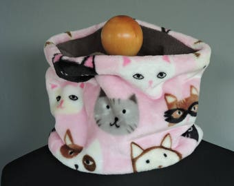 Snood soft neck warmer pink cat