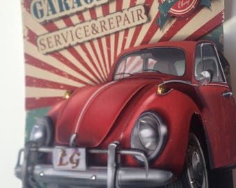 Paper art, Gift for Dad, Antique car, Classic car, Vintage car, car, Old car, 3d Paper craft, collage, three dimensional, paper collage,