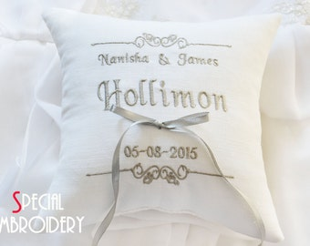 Ring bearer pillow , wedding pillow , wedding ring pillow, Personalized Custom embroidered ring bearer pillow (RBP17)