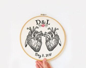 Heart embroidery hoop art-anniversary gift-anatomy wall art-home decor-hoop art-wedding gift-love wall art-couple gift-NATURA PICTA-EHO17