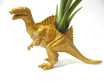 Gold Spinosaurus Dinosaur Planter with Air Plant // Coworker Gift // For Her // For Him