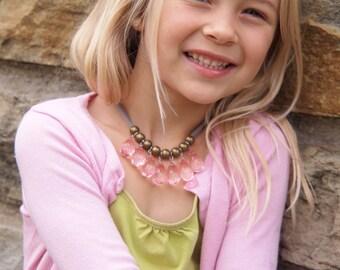 translucent pink briolette and grey necklace
