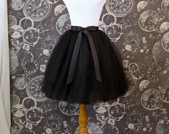 Black Tulle Skirt - Adult Knee Length Tutu with Ribbon Waist and Ties - Custom Size - Made to Order