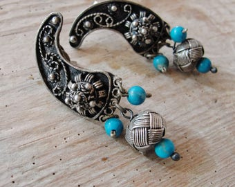 Sterling Silver Filigree Earrings Hand knotted Kazaziye woven Fine Silver Oxidized Turquoise Stone