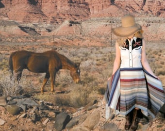 Southwestern Country Cowgirl Embroidered Upcycled Dress// Small// emmevielle