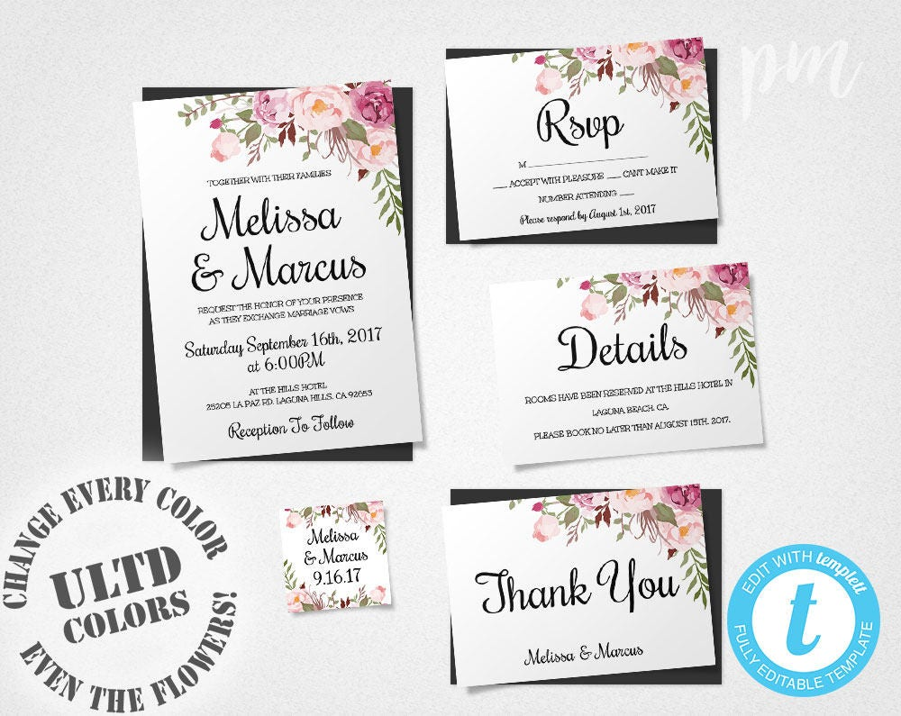 Wedding invitation template set floral boho wedding invite zoom stopboris Images