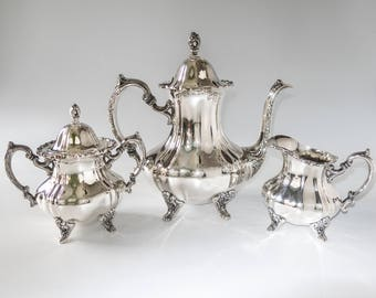Vintage Silver Plate Coffee Tea Set Service Towle Grand Duchess