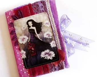 Purple Meadow - Unique and Handmade Fabric Journal - OOAK
