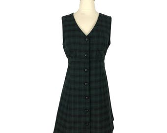 A. Byer California Green Checkered Dress