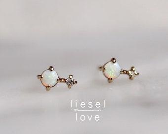 """14K Opal Diamond """"Love Drop"""" Earrings"""